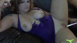 Friendly red headed with big pierced boobs and very long tongue