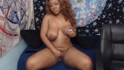 Curvy ebony girl Jada Green with natural huge boobs