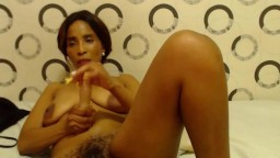 Ebony mature mom with hairy pussy and huge nipples