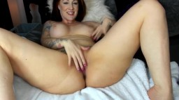 Redheaded Morgan spanking pink cunt hard gets cum