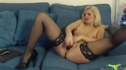 Wonderful English rose Samantha with lingerie and high heels
