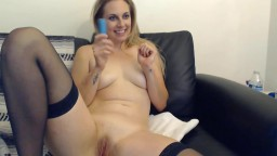 Sweetheart blonde Harper Haize with sexy voice and blue eyes