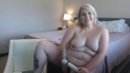 Inked BBW blonde Miss Kay with angel voice masturbates