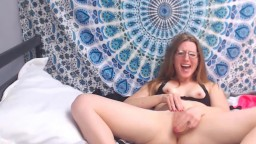 Sweet coed girl Angelic takes big toy deep inside her cunt