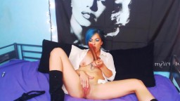 Sissy training Gina Dae in sexy black boots with blue hair