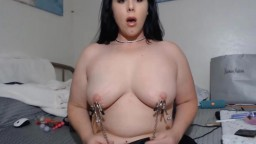 Nipple clamped submissive lady Azlynn to make you cum