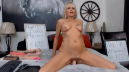 Posh horny petite country mature cutie rides a sex toy