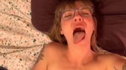 Teasing hot nympho Sadie with little tits and glasses