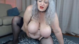 Dirty busty British MILF Helen with huge boobs and big toy