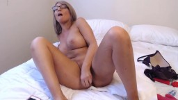 Bored cheating wife Alison with enticing implants home alone