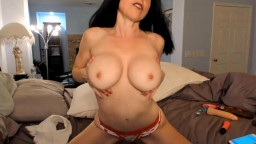 Dark haired inviting MILF with sensual petite body gets cum
