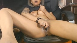 Posh MILF Monica Moon rides brown dildo with a creamy twat