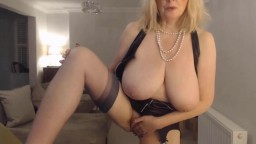 Exhibitionist Annabel with massive boobs has sexy fun