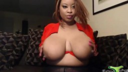 Dirty talking squirting black Brittany with immense boobs