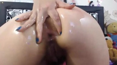 Spanish Katerlineex flexing asshole with rubber penis inside