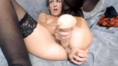 Filthy mouth sexy Harley in stockings craves to be filled