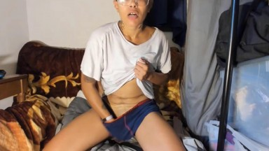 Short haired miss Mel can make a dick hard even in clothes