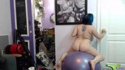 Amateur coed Diana Blake does cowgirl ride on a huge ball