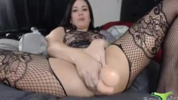 Chubby brunette kitten squirting twat while fucks tight butt