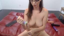 Loud screaming slut Kiera with sexy glasses fucks tiny cunt