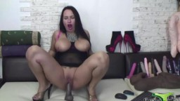 Pure original lady raven Flora Shine rides a brutal dildo to squirt